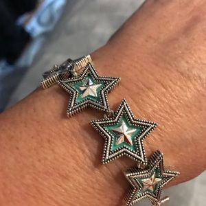 Western Turquoise and Silver Tone Star Bracelet